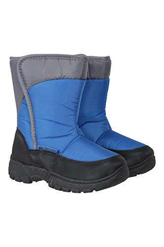 Mountain Warehouse Caribou Kinder-Schneeschuhe mit einem Streifen - Schneedicht, isoliert, zum Wandern, warm, Sherpa-Fleece-Futter- für Winter Blau Kinder-Schuhgröße 30.5 DE