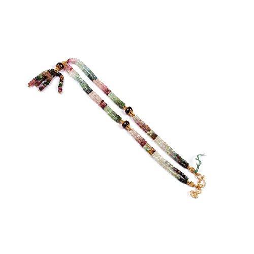 Natürlicher Edelstein mehrfarbiger Turmalin facettierte Rondelle Perlen Halskette Anhänger für Frauen - 50,8 cm Edelsteinkette - 4-5 mm lose Perlen für...