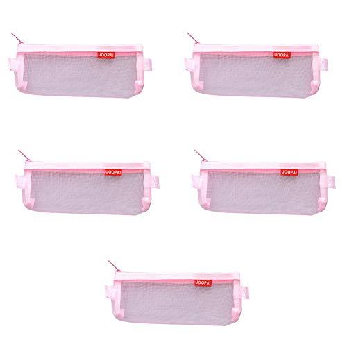 Demarkt 5 stuks trompet transparant etui studentpennen etui tas ritssluiting pennenetui portemonnee 20.8cm*9cm roze