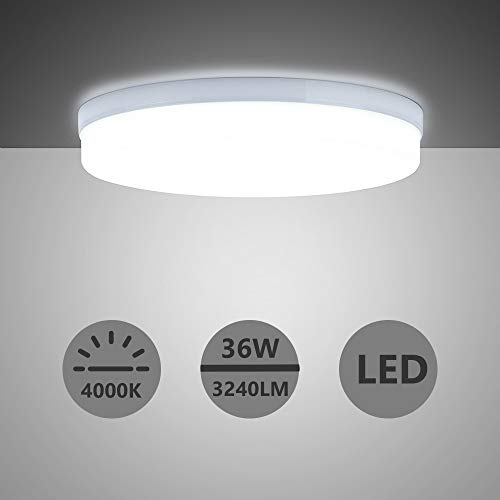 Yafido LED Deckenlampe Ultra Slim 36W 3240Lm UFO LED Panel 4000K Neutralweiß LED Deckenleuchte für Wohnzimmer Schlafzimmer Flur Büro Küche Küche Balkon und Esszimmer Nicht-dimmbar Ø23 cm