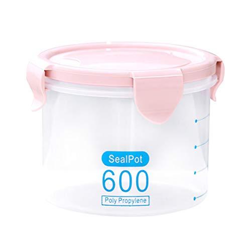 Bestonzon Boîte de conservation hermétique en plastique étanche avec couvercles de verrouillage pour céréales, farine, sucre, riz (rose 600 ml)
