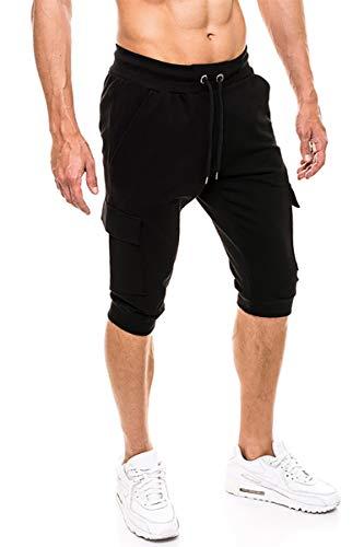 KEFITEVD Sweathose Herren 3/4 Cargo Jogger mit Stretchbund Multi Taschen Casual Hose Freizeithose Sommer Kurze Jogginghose Leicht Gym Shorts Schwarz 40