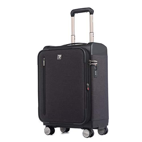 軽量 キャリーケース 防水加工 ビジネスキャリーバッグ 機内持込 丈夫 TSAロック トランク 容量拡張機能 スーツケース 旅行 出張 (L (24inch)型, ブラック)