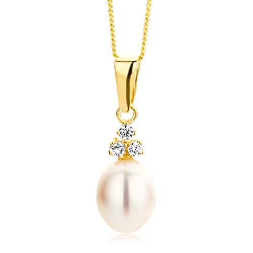 Orovi Schmuck-Krone - Collar con colgante de perlas (oro amarillo de 9 quilates)