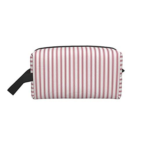 Borsa da trucco alla moda cosmetica borsa da viaggio materasso ticchettio a righe strette bandiera USA rosso e bianco grande borsa da toilette organizer per il trucco da donna