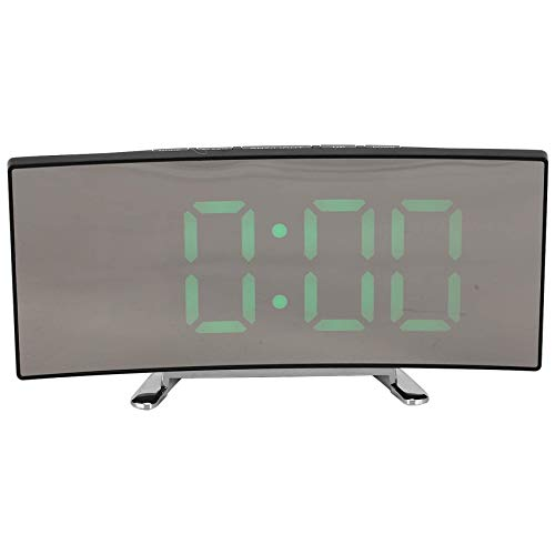 JIEOR 7 Inch Curved Dimmable LED Screen Digital Clock , Easy Smart Alarm Clock, Snooze Function, 24.12 Clock, USB Port