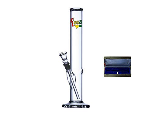 Rasta Line - Kofferbong - Glas Bong im praktischem Koffer - 32cm / Ø45mm - Zylinder mit Glasfuß und Logo Aufdruck - 14,5mm Chillum Schliff - mit Kickloch und Chillum