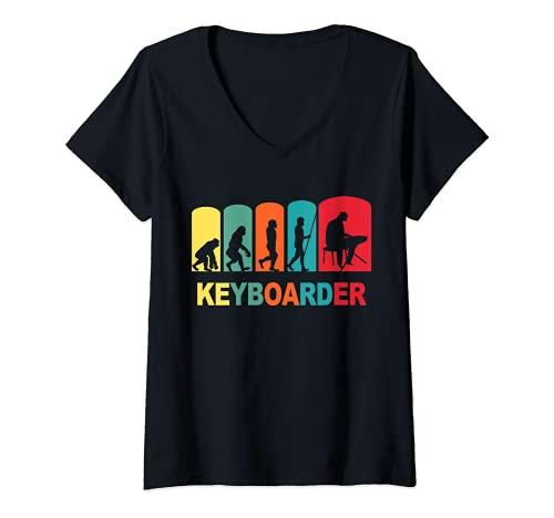 Mujer Teclado, músico, teclado Epiano Camiseta Cuello V