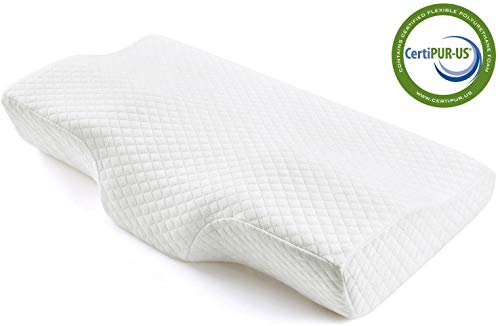 Stomach Bamboo Charcoal Memory Foam Pillow for Sleeping Orthopedic Contour Pillow Support for Back Cervical Pillow for Neck Pain Side Sleepers Standard Milemont Memory Foam Pillow CertiPUR-US