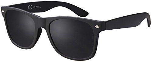 Sonnenbrille La Optica UV 400 CAT 3 Damen Herren Mafia Brille - Einzelpack Gummiert Schwarz (Gläser: Polarisiert Grau)