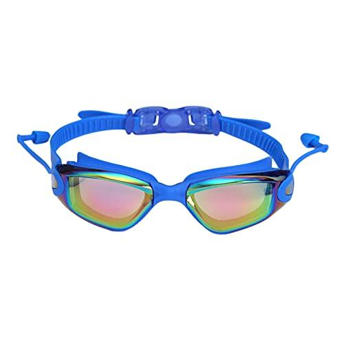 YONGLI Adulto Natación Goggle PC Anti-Niebla Protección Gafas De Natación A Prueba De Fugas Correa Ajustable Amplio Visión Gafas con Tapones para Los Oídos (Color : Deep Blue)