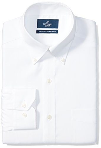 """Amazon Brand - Buttoned Down Men's Tailored-Fit Button Collar Pinpoint Non-Iron Dress Shirt, White, 16"""" Neck 33"""" Sleeve"""