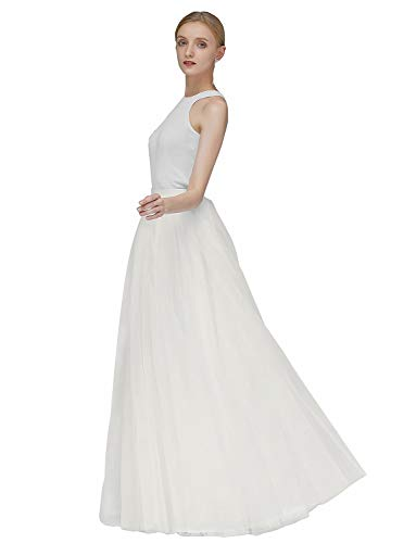 EllieHouse A Line Long Maxi Bridesmaid Tulle Skirt for Wedding Evening Party P68 Light Ivory M