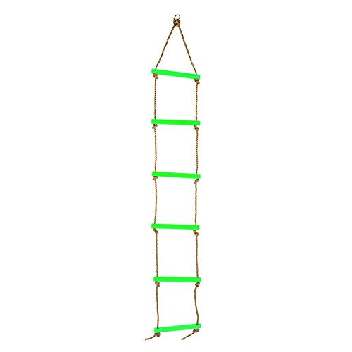 Touw klimladder, 78,7 inch plastic zes sectie kinderen opknoping nylon touw ladder voor kinderen buiten schommel achtertuin spelen speelgoed(Groen)