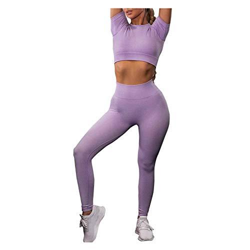 YANFANG Traje de Dos Piezas del Desgaste de la Yoga de la Aptitud del Desgaste de la Yoga de la Manga Corta del Color sólido de Las Mujeres,Morado, Azul Cielo, Gris