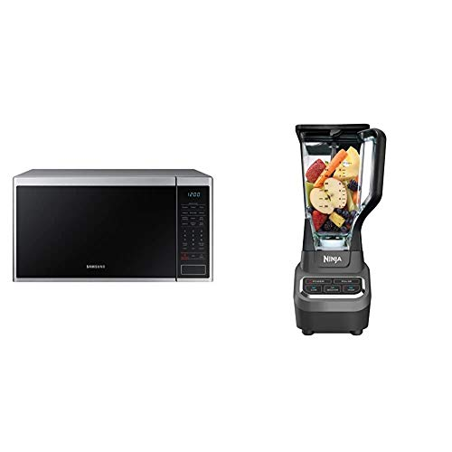 Samsung MS14K6000AS 1.4 cu. ft. Countertop Microwave Oven with Sensor and Ceramic Enamel Interior, Stainless Steel & Ninja Professional 72 Oz Countertop Blender with 1000-Watt, Black