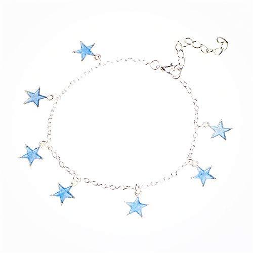 Ellepigy Blauer Fluoreszierender Stern Baumeln Fußkettchen Charm Girl Verstellbare Fußknöchel Armband Für Frauen Mädchen
