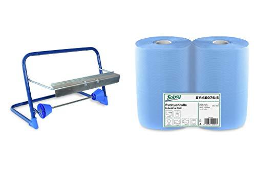 2 x blaue saugstarke Papierrolle mit Wandhalterung, 1000 Blatt, 37x36 cm | 2-lagige perforierte Papiertücher | für Industrie, Werkstatt und Restaurant | Durchmesser 25 cm