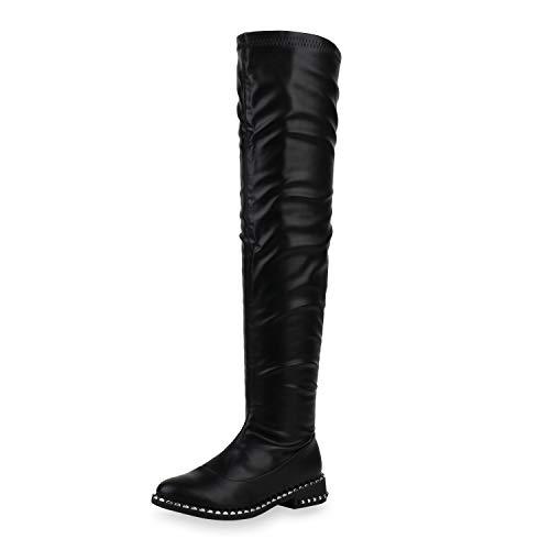 SCARPE VITA Damen Stiefel Overknees Leder-Optik Schuhe Nieten Blockabsatz Boots Flache Langschaftstiefel 186976 Black Schwarz 37