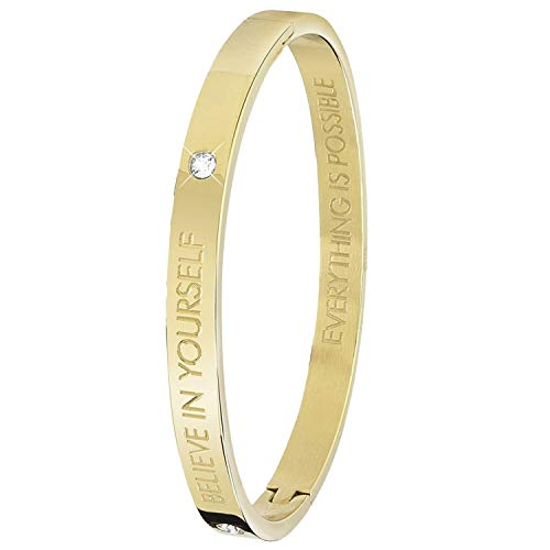 Guess - Bangle-Stahlarmband Text,Believe - für Damen - Gold