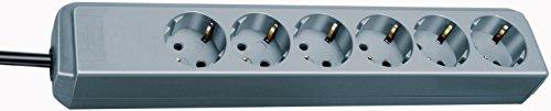 Brennenstuhl Eco-Line regleta de enchufes con 6 tomas de corriente (cable de 1.5 m, sin interruptor) plateado
