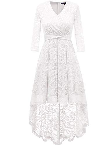 DRESSTELLS Abendkleider elegant Cocktailkleid Unregelmässig Spitzenkleid Vokuhila Floral Kleid White L