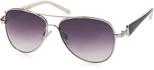 styleBREAKER elegante Damen Pilotenbrille getönt, Sonnenbrille mit lackierten Bügeln und Strassstein 09020053, Farbe:Gestell Silber-Schwarz/Glas Grau verlaufend
