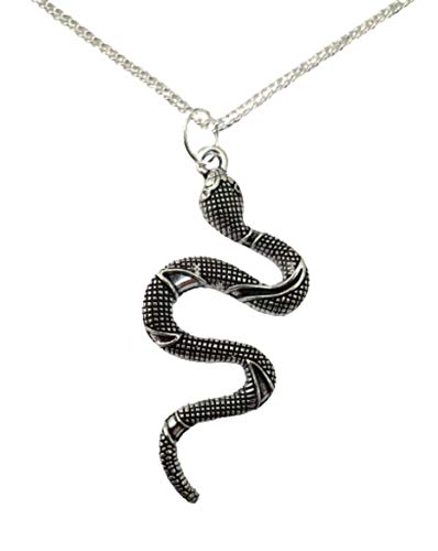 Silver Necklace Animal Lovers Large Chinese Snake Pendant