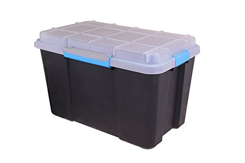 Ondis24 stabile und gut schließende Lagerbox Transportbox Multifunktionsbox Scuba XL mit umlaufender Deckeldichting schwarz mit transparentem Deckel