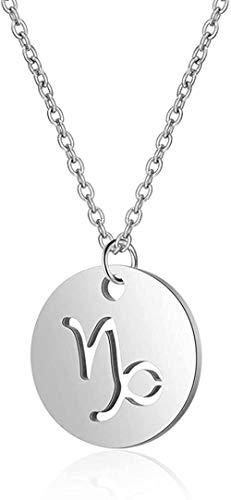 Yaoliangliang Collar con Colgante de 12 Constelaciones, Collar de Cadena de clavícula con Signo del Zodiaco Hueco Redondo de Acero Inoxidable, joyería Unisex