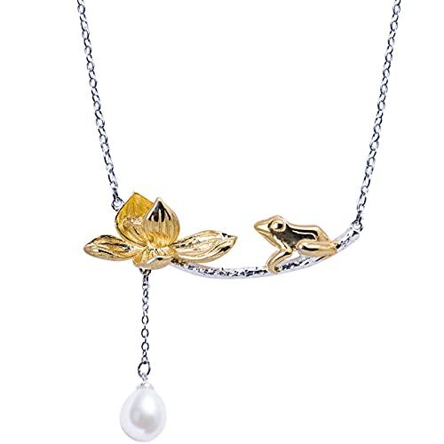 ShZyywrl Collar De Joyas Regalos para Aniversario Cumpleaños De La Madre Collar Collar De Rana Encantador Creativo De Plata 925 para M