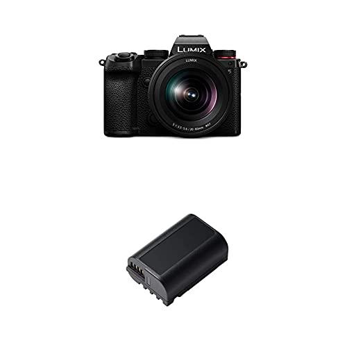 Panasonic LUMIX DC-S5KE-K Systemkamera (24 MP, 4K, Dual I.S, Touchscreen, OLED-Sucher, Staub-/Spritzwasserschutz) mit Objektiv R2060E + DMW-BLK22E Aufladbarer Lithium Ion Akku, 7.2V, 2.200 mAh