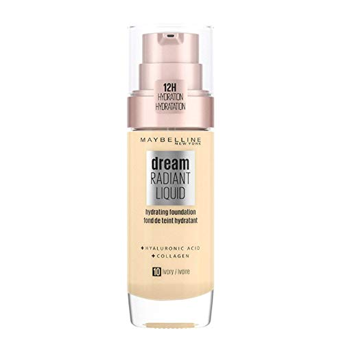 Maybelline New York Make Up, Dream Radiant Liquid Make-Up, Flüssige Foundation, Nr. 10 Ivory, 30 ml