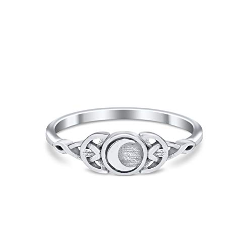 Blue Apple Co. Sterling Silver Size-8 Petite Dainty Celtic Crescent Moon Thumb Ring Band Solid Round 925 Sterling Silver