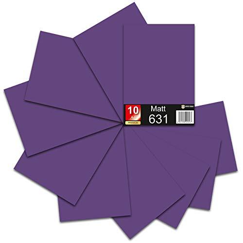 18,89€/m² Din A4 Bogen 30x21cm 621/631 Plotterfolie Folie Vinyl Autofolie (040 Violett, 10er Set 631 Matt)
