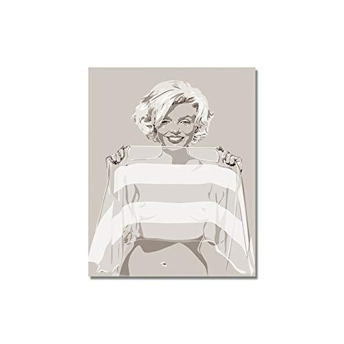 Wxuuly Marilyn Monroe Retrato Abstracto Pinturas al óleo sobre Lienzo Arte de Pared Postesr e impresión para decoración de habitación de niña Cuadros de Pared A3 60x80 CM (sin Marco)