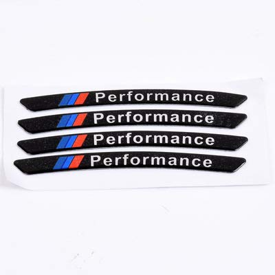 Etiquetas engomadas de las rayas de las llantas 4pcs Car para la rueda de la rueda del automóvil Performance de potencia M Deckals Compatible con BMW E46 E90 E60 E39 E36 F30 F10 F20 X5 E70 E53 M G30 E