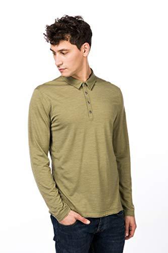 super.natural PARZI Polo T-Shirt à Manches Longues en Laine mérinos. Homme, Mélange de Bambou, L