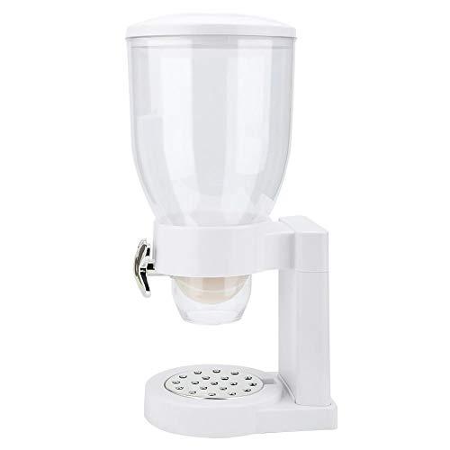 Dispensador de cereales de encimera blanca Dispensador de cereales individual Máquina Dispensador de alimentos secos multifunción Contenedor para avena Galletas de caramelo Arroz y comida para perros,