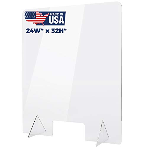 Plexiglass Sneeze Guard - Protective Freestanding Shield Guards Against Sneezing and Coughing/Transaction Window for Offices and Stores (24'W x 32'H)