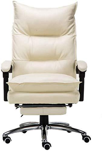 LAMTON Silla ejecutiva, silla de oficina de piel sintética, ergonómica, con respaldo alto y rotación libre, con pedales, silla Boss color crema