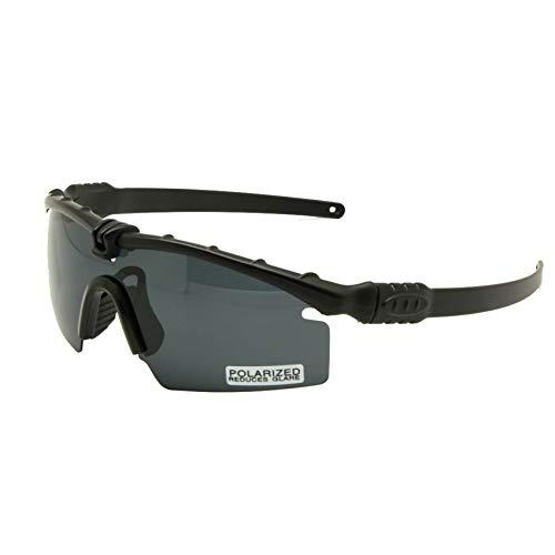 EnzoDate Gafas de Sol polarizadas Gafas de Militares del ejército los Hombres Frame 3/4 Lente Agencia de Juego de Guerra eyeshields(Negro, polarizado 4 Lentes)