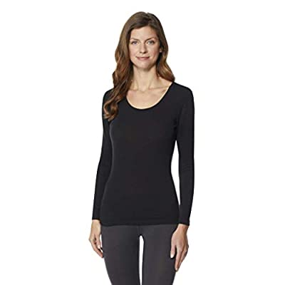 32 DEGREES Women's Heat Plus Baselayer Lounge Comfy Active Wicking Scoop Top, Black, XLarge