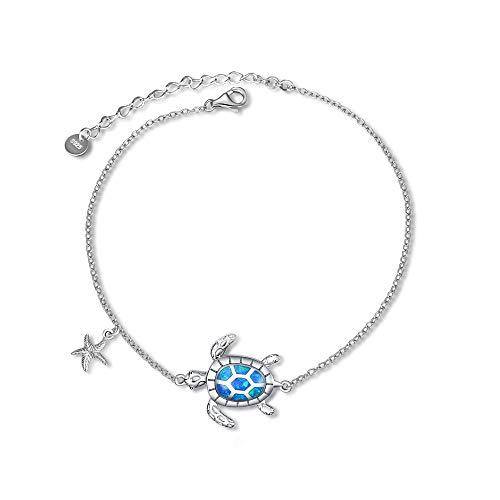 WINNICACA Schildkröte Armband Opal Sterling Silber Meer Seestern Armreif Geschenke Ozean Schmuck für Frauen Freundin Muttertag