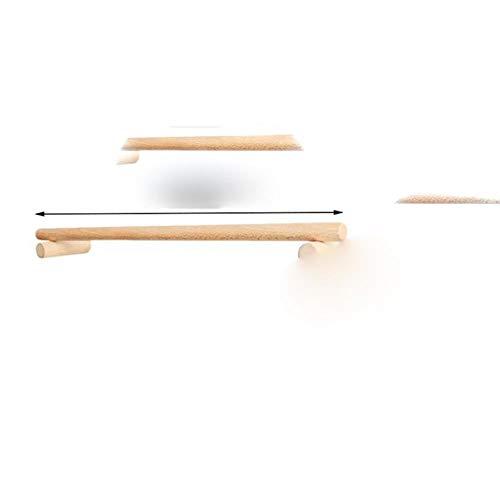 Toallero Barra de toalla individual de madera sin perforador Perchero de almacenamiento Percha para toallas para baño Cocina Hogar