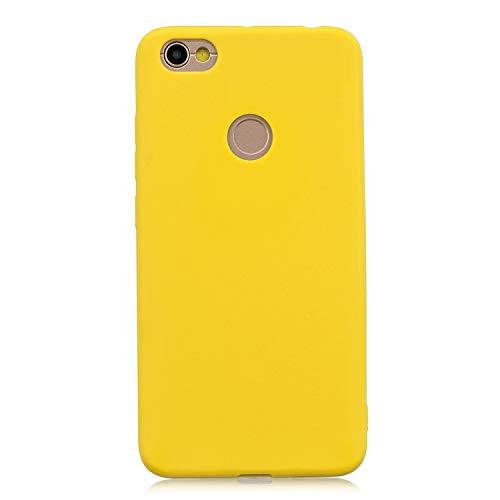 cuzz Kompatibel mit Xiaomi Redmi Note 5A Hülle Hülle+{1 x Panzerglas Schutzfolie} Silikon Schutzhülle Handyhülle,Outdoor Stoßfest Schutzhülle Schmaler Handyschutz,Staub & Scratch-Stoßfest-Gelb