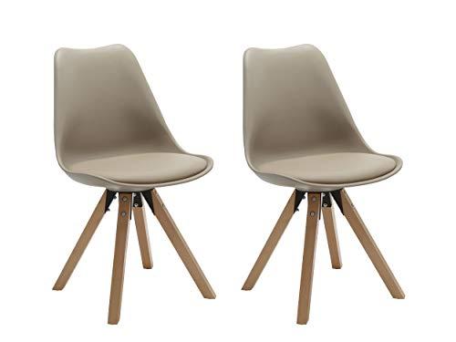Duhome 2er Set Stuhl Esszimmerstühle Küchenstühle Farbauswahl mit Holzbeinen Sitzkissen Esszimmerstuhl Retro 518M, Farbe:Beige-1, Material:Kunstleder