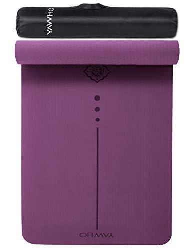 Yogamatten Fitnessmatten Maße: 183 cm X 66 cm Höhe 0.6 cm,hochwertige TPE ist Rutschfest ECO Freundlichen Material Das SGS Zertifiziert Design Hilfslinien, licht, umweltfreundlich, langlebig(Violet2)