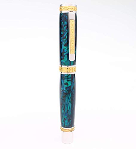 Executive Pen by Pitchman® | The Pitchman Executive - Rollerball Pen handcrafted in Teal colored Abalone Shell and 22 Kt Premium Gold | Gift for Top Performing Sales Professionals and Executives