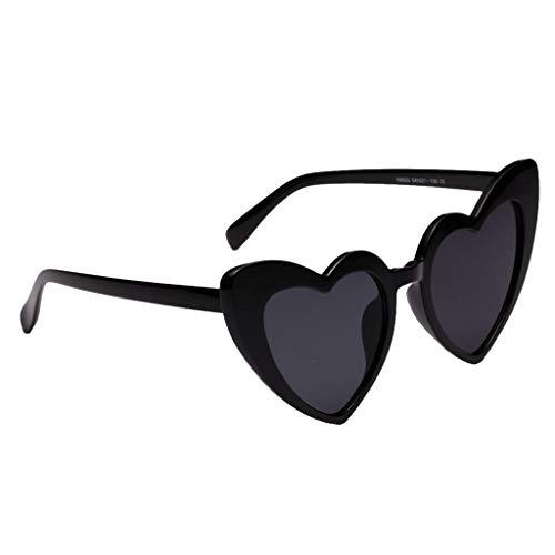 oshhni Gafas de Sol de Mujer en Forma de Corazón con Montura de Plástico Retro Fashion - Negro